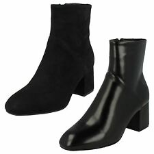 Ladies Spot On Black Ankle Boots Style F50572