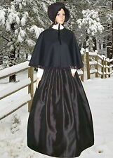 Ladies Victorian 3pc black drill & Duchesse satin gentry costume fancy dress.