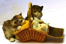 "H Ronner-Knipp ""TheSewing Basket"" CAT & KITTEN FIGURE Cats Kittens Ornament"