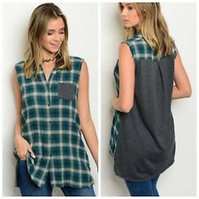 Sleeveless Hi Low Plaid Tartan Top Tunic Button Front Grunge 90's Green Gray