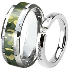 SET Men's 8MM TUNGSTEN Camo Camouflage Band & Women's Wedding Forever Love Ring