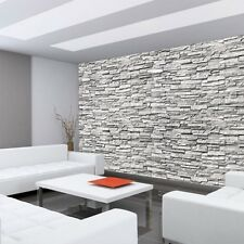 "Fleece Photo Wallpaper ""Noble Stone Wall no. 2 - gray - smaller - stacking"""