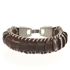 Xauen Original Handmade Leather Stitched Men's Bracelet Brown PU55