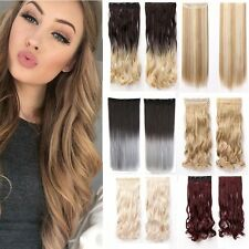 One Piece Full Head Clip in Hair Extensions Synthetic Straight Wavy Natural Tx