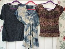 10 12 PER UNA  M&S Lace Style Sheer Short Sleeve Hippy Goth Grunge Party Tops