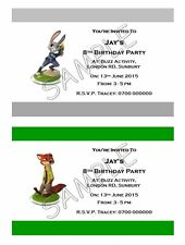 Personalised Party Invitations or Thank You Cards Zootropolis A6 Glossy + Env