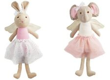 Mud Pie MK7 Baby Girl Linen Princess Fairy Toy Doll Bunny Or Elephant 2112314