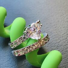 WOMEN ENGAGEMENT WEDDING RING SET STERLING SILVER 2.54 TCW HEART CUT CZ SIZE 5-9