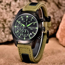 HOLUNS Luminous Military Date Fabric Canvas Strap Army Men Sport Wrist Watch