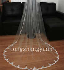 1 T Lace Applique Bridal Veils White Ivory Wedding Veil Cathedral With Comb New