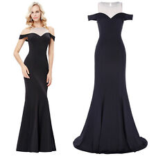 Long Drop Shoulder Formal Gown Evening Maxi Dress Prom Cocktail Bridesmaid Party