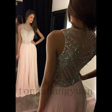 Luxury Beading Crystals Chiffon Evening Dresses Party Pageant Formal Prom Gowns