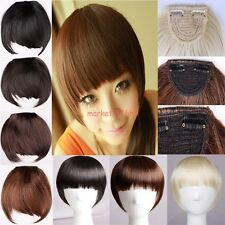 UK Stock Clip in Fringe/Bangs Straight Hair Extensions 2Clips Hairpiece as Human