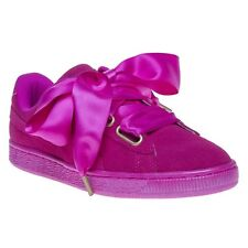 New Womens Puma Pink Suede Heart Satin Trainers Court Lace Up