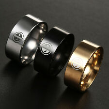 Dead Pool Ring Titanium Stainless Steel Wedding Band Black Gold Silver Size 6-13