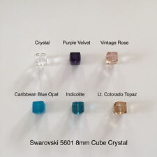 Swarovski Crystal Beads 5601 8mm Cube 6 Colors * Crystal Indicolite Vtg Rose 6pc
