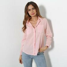 Womens Loose Long Sleeve Casual Blouse Shirt Tops Fashion Blouse White/Pink A3D2