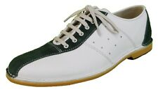 Delicious Junction Watts White Leather Green Suede Bowling Shoe