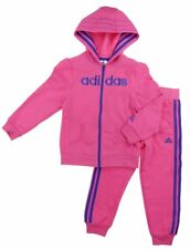 Adidas Girls Hooded Active Wear Fleece Jacket and Pant Outfit Set