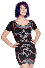 B15 Banned Black Red Mirror Skulls Punk Rock Gothic Tunic Top Mini Fitted Dress