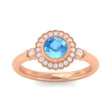 Blue Topaz FG SI Diamonds Gemstone Engagement Ring Women 14K Rose Gold