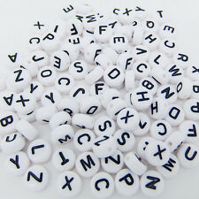 100 pcs 4x7mm Acrylic Individual Alphabet Letter Coin Round Flat Spacer Beads