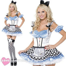 LADIES SEXY ALICE IN WONDERLAND COSTUME WOMENS FAIRY TALE CHARACTER FANCY DRESS