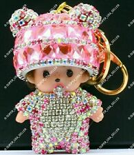 Rhinestone Pink Baby Crystal Tokens Purse Charms Keychain Bling Accessories lot
