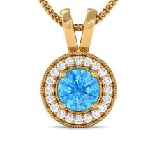 Blue Topaz GH SI Diamond Round Halo Gemstone Pendant Women 14K Yellow Gold