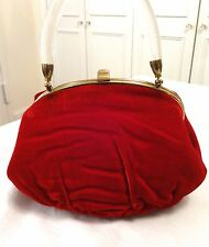 BONWIT TELLER- VINTAGE RED VELVET BAG WITH LUCITE HANDLE