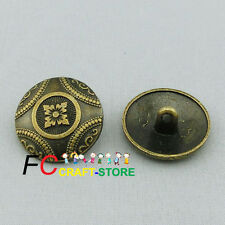 Vintage Brass Flower Coat of Arms Metal Buttons 20mm Sewing Shank Button Craft