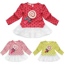 New Cute Toddler Casual Long Sleeves T-shirt Girls Baby Polka Dot Clothes Dress