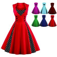 Women's Vintage 50s Swing White Polka Dot Pinup Rockabilly Evening Party Dresses