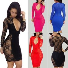 Sexy Women Lace Splice Nightclub Cocktail Bandage Bodycon Party Mini Club Dress