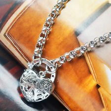 "9K Solid White Gold Filled Belcher Bracelet With Fine Heart Locket ""Stamp 9K"""
