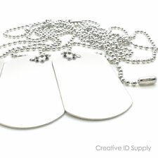 """LOT 100 BLANK STAINLESS STEEL DOG TAG  SHINY/MATTE WITH 100 30"""" S/S NECKLACES"""