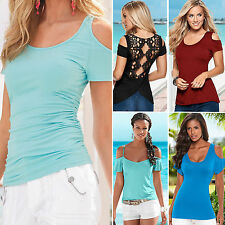 Sexy Womens Summer Short Sleeve T-Shirt Blouse Casual Cut Out Shoulder Top Tee
