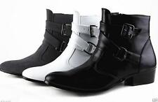 Mens England Style Pointed Toe Buckle Strap Military Boots Casual Combat Shoes