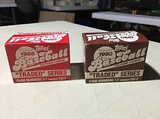 1986 & 1990 Topps Traded Series Collector Baseball Card Factory Sets Sealed