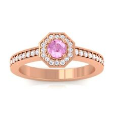 Pink Sapphire GH VS Gemstone Diamond Engagement Ring Women 14K Rose Gold