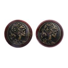 MagiDeal Skull Girl Wood Tunnels Double Flared Ear Stretcher Saddle Plugs Gauge