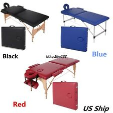 Aluminum/Wood Portable Facial Two Fold SPA Bed Massage Table Tattoo w/Carry Case