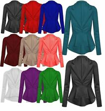 NEW WOMENS LADIES CROP FRILL SHIFT SLIM FIT JACKET PEPLUM BLAZER COAT SIZE 8-24