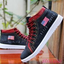 Mens Flats Lace Up Casual Canvas Shoes Denim High Top Board Shoes New Sneakers