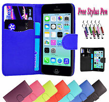 Magnetic PU Leather Wallet Flip Case Cover ID Holder Fits Apple iPhone Models UK