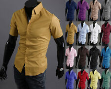 Men's Luxury Stylish Casual Button Down Short Sleeve Slim Fit Dress Shirts Tops