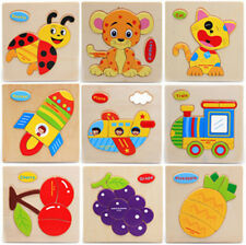 Top Baby Wooden Cartoon Animals Dimensional Puzzle Toy Children Jigsaw Puzzle