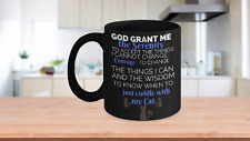 Serenity Prayer Cuddle With My Cat Black Mug ~ Great Gift Idea ~ For Cat Lovers