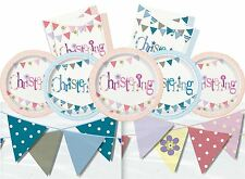 Christening Boy Girl Tableware Pink Blue Decorations Party Plates Napkins Banner