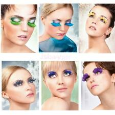 1Pair Soft Fur Feather False Eye Lashes Fancy Dress Halloween Party Club Make Up